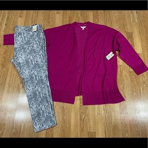 Cardigan sweater and jeggings